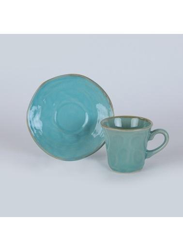 Keramika Keramika 12 Parça 6 Kişilik Organik Kahve Takımı Mavi